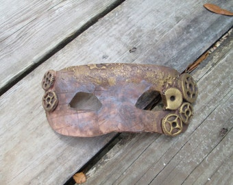 Halloween Costume, steampunk mask, map, gears, hand painted, one of a kind, aged look