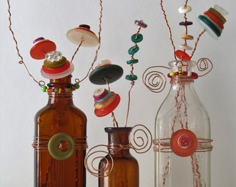 Vintage Glass Bottles with Hand Wire Wrapped Vintage Button Flowers