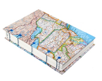 OOAK Coptic Bound Map Journal - Coptic Stitch - Journal - Travel - New York - Vintage Map - Handmade Journal - One of A Kind - Ready To Ship