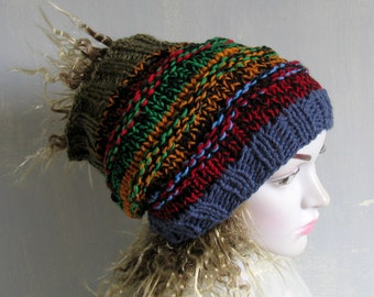 Dreadlock Headband  Wide Hair Wrap Dreadlock Accesory  Dreadlock tube hat Colorful hat Scarf Acrylic bohemian knit hat