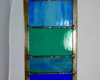 Stained Glass Garden Ornament Architectural Panel Small in Ocean Blue, Teal and Aquamarine MTO