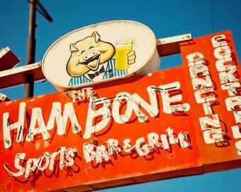 Ham Bone Neon Sign Photo - Retro Home Bar Decor - Mesa Sports Bar - Fine Art
