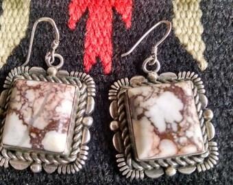 Navajo Artisian White Buffalo Turquoise Sterling Silver Earrings