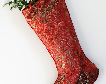 Paisley Christmas Stocking - Red and Green - Jewel Tones