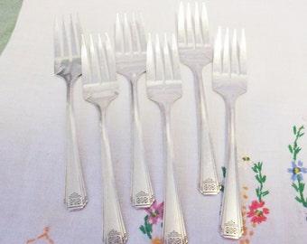 Vintage 1930 Set of 6 - Tudor Silverplate SKYLINE Skycrest Dessert Salad Forks