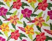 Lycra Fabric Remnant Hawaiian Hibiscus Floral Print Lycra Spandex 4 Way Stretch Swimwear Fabric Dance Wear Sportswear Crafts Sewing Y14