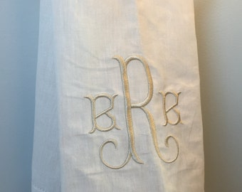 Monogrammed Linen Hemstitched Hand Towel