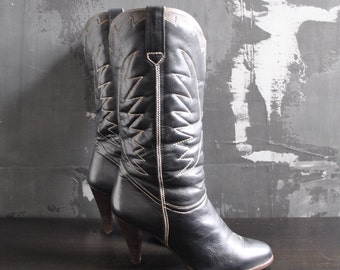 Black High Heel Cowboy Boots - Brazilian Leather; size 9 B