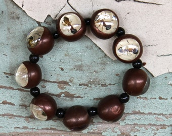Ant Bracelet Statement Jewelry Handmade Bugs Art Wear One of a Kind gift Conversation Piece Wearable Art Chocolate Brown Black white teal