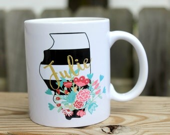 Personalized Coffee Cup - Personalized Coffee Mug - Custom Coffee Mug - Striped State Mug - Custom Coffee Cup - Gift for Mom - Gift for her