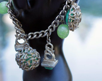 Fabulous Chunky Charm Bracelet with Green Plastic Beads and Cabochons