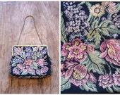 vintage 1950s handbag - floral print tapestry purse / Walborg - W. Germany / 50s - dolly kei