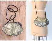 vintage 80s glam purse - long shoulder strap / Metallic gold & black - spotted snakeskin / 1980s handbag