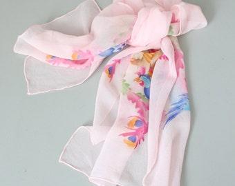 vintage 50s silk chiffon scarf - hand painted silk scarf / Chinese Phoenix - pale pink silk scarf / silk chiffon scarf- pastel silk scarf