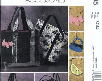 McCalls M4935 Fashion Accessories Tote Bag Handbags & Charms Purse Shoulder Sewing Pattern UNCUT