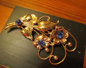 ESTATE Find: Glorious, Rare Signed RALEIGH 1930's Gold Fill Over STERLING (Marked) Large Figural Flower Brooch-Pin W/Sapphire Rhinestones