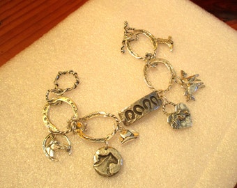 Bewitching COWGIRL STERLING & PEWTER Charm Bracelet - Horseshoe Foci, Sterling Horseshoe Links, 6 Charms: Cowboy Hat, Boot, Heart, 3 Horses