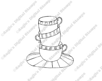 A Stack of Teacups Digital Stamp Image