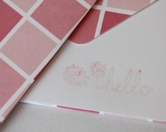 Hello - Set of 2 Stationery -  Pink Fuschia Blocks with Mum Flower Hello Greeting Cards