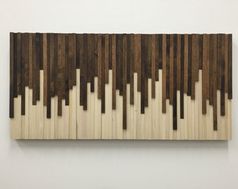 Wall Art - Wood Wall Art -  Rustic Wood Sculpture Wall Installation 46X22