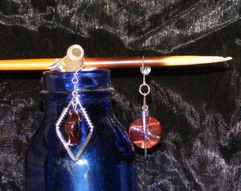 Red Tigereye and Sterling Silver Earrings