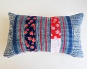 Floral Boho Pillow Cover - Vintage Hmong Batik Textile - Red and Indigo Boho Throw Pillows