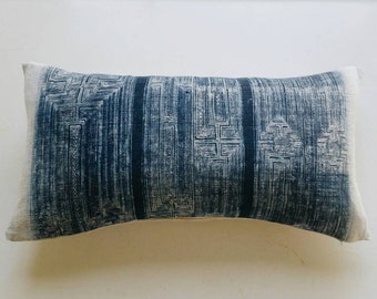 Batik Indigo Hmong Pillow Cover - Vintage Boho Tribal Throw - Bohemian Batik Pillows