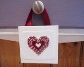 Burgandy Red Heart Hanging Mini Home decor Cross Stitch Valentines Anniversary