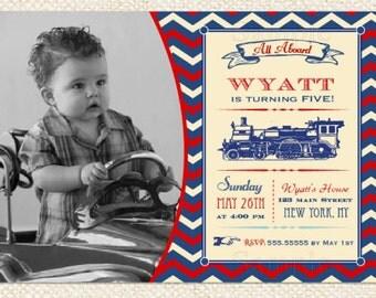 Train Birthday Invitation - Train Invitation - Vintage Train Birthday Party - DIY printables