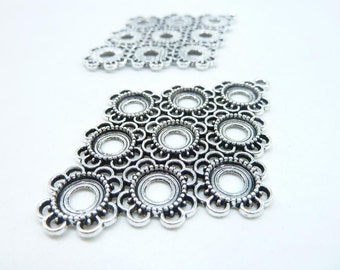 3pcs 42x68mm Antique Silver Huge Filigree Flower Geometric Base Settings C8353