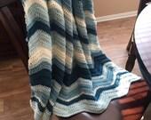 Chevron Throw Blanket/Ripple Pattern Crochet Blanket/Chevron Blanket/Crochet Throw Blanket/Couch Blanket/Cuddle Blanket- MADE TO ORDER