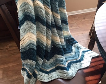 Chevron Throw Blanket/Ripple Pattern Crochet Blanket/Chevron Blanket/Crochet Throw Blanket/Couch Blanket/Cuddle Blanket- MADE TO ORDER