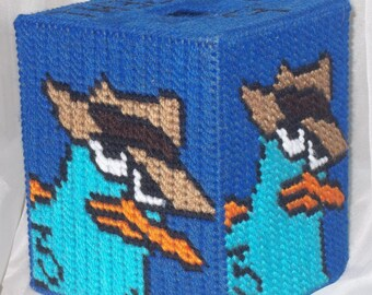 "Agent ""P"" Tissue Box Cover Plastic Canvas Pattern"