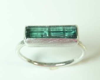 Blue- green Tourmaline Ring,green tourmaline crystal, stacking Ring