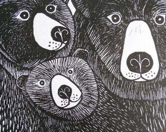 Bear Family, Original Linocut Print, Signed Open Edition, Free Postage in UK, Hand Pulled, Printmaking, Mothers Day