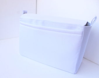Tall Large Bag organizer /Purse insert with Magnetic snap Flap closure and iPad case in White fabric