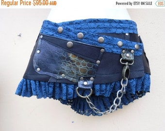 20%OFF 20 Percent OFF...BURNING Man festival ,  croc print leather mini skirt/belt with ruffles and studs... 34'' to 42' hip or waist...