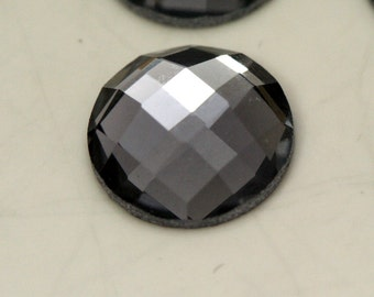 6 pcs 10 mm Black Diamond Faceted Mirror Glass Round Cabochon GG40F10