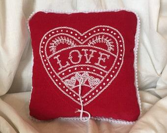Mini Red Velvet Love Heart Hand Embroidered Folk Art Wedding Pillow Ready Made Wedding Gift