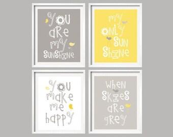 Wall Art, Yellow Gray Nursery Decor, You Are My Sunshine, Wall Art Prints for Boy or Girl Nursery Quad Set of 4 Nursery YassisPlace