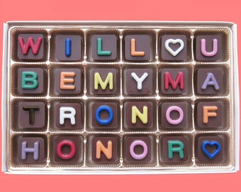 Will You Be My Matron of Honor Gift Ask Matron of Honor Proposal Invite Her Wedding Invitation Box Funny Luxury Jelly Bean Chocolate Cube