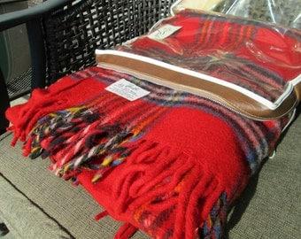 "Vintage Wool Plaid Stadium Blanket - Faribo Traveller Wool Plaid Retro Throw Blanket 52"" x 72"" - Original Zippered Plastic Pouch with Handle"
