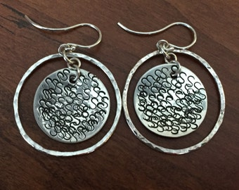 Silver Disc Earrings with Surround Circle  - OOAK - - ready to ship