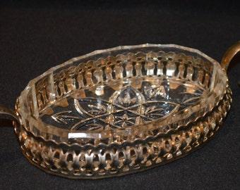 Silver Plated Pressed Glass Soap Dish-Trinket Dish-Mint Dish