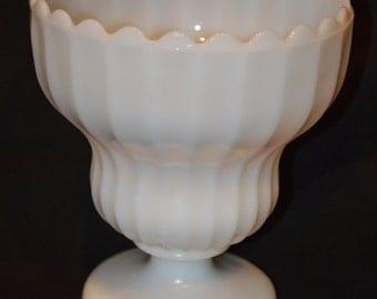 Milk Glass Ribbed Pedestal Urn-Planter-Vase