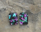 Dragonfly Earrings Fused Dichroic Glass Rainbow Dragonfly Jewelry