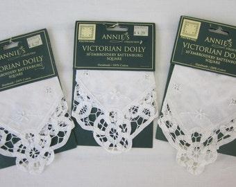 Vintage Battenburg Lace Doily.  Annie's Victorian Doily.  10 inch Embroidery Square Doily.