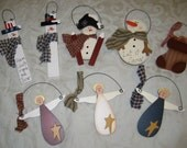 Christmas ornaments  hand painted  set of 8 free shipping