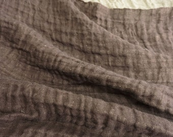 LINEN Fabric - DOUBLE face with softening-Cocoa  and light gray colors 3m
