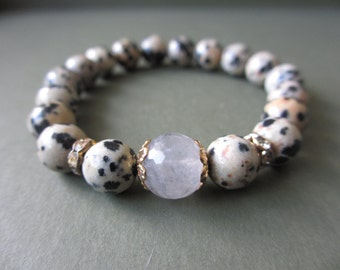 8mm Dalmation Jasper Beaded Bracelet with Smoky Quartz Centerpiece